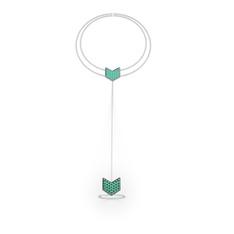 Menta Şahmeran Bilezik - Yeşil kuvars 925 ayar gümüş bilezik (40 cm gümüş rolo zincir) #128zby7
