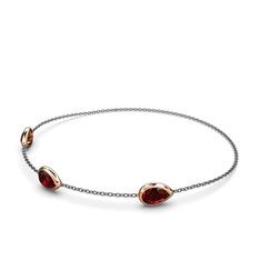 Su Damlası Bilezik - Garnet 925 ayar rose altın kaplama gümüş bilezik (17 cm gümüş rolo zincir) #1bv3vcx