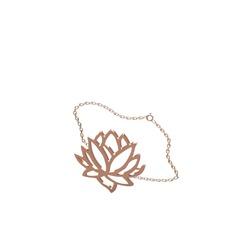Lotus Çiçeği Bilezik - 925 ayar rose altın kaplama gümüş bilezik (40 cm gümüş rolo zincir) #1s8fk8o