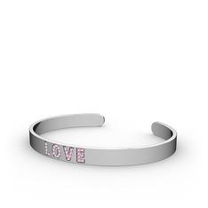 Love Bileklik - Pembe kuvars 925 ayar gümüş bilezik #11zxv1x