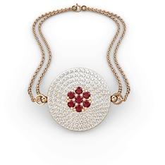 Palmira Daire Bilezik - Garnet ve beyaz zirkon 925 ayar rose altın kaplama gümüş bilezik #11fjg78
