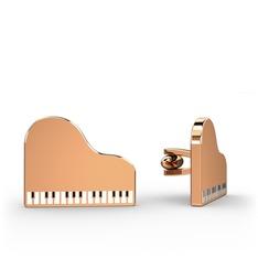 Piano Kol Düğmesi - 925 ayar rose altın kaplama gümüş kol düğmesi #dx0m6d