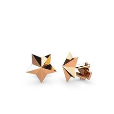 Yıldız Kol Düğmesi - 925 ayar rose altın kaplama gümüş kol düğmesi #c213c6
