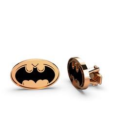 Batman Kol Düğmesi - 925 ayar rose altın kaplama gümüş kol düğmesi (Siyah mineli) #ao3yi5