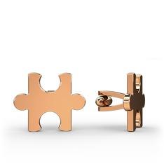 Puzzle Kol Düğmesi - 925 ayar rose altın kaplama gümüş kol düğmesi #15fbv66