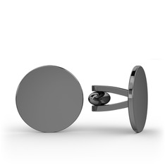 Daire Kol Düğmesi - 925 ayar siyah rodyum kaplama gümüş kol düğmesi #15dkh9u