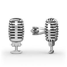 Mikrofon Kol Düğmesi - 925 ayar gümüş kol düğmesi #1gopl8a