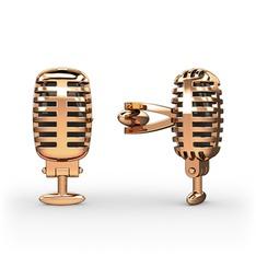Mikrofon Kol Düğmesi - 925 ayar rose altın kaplama gümüş kol düğmesi #p2iuv1
