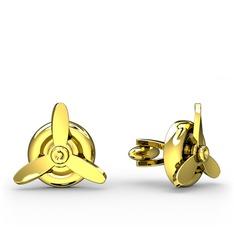 Pervane Kol Düğmesi - 925 ayar altın kaplama gümüş kol düğmesi #1kouh23