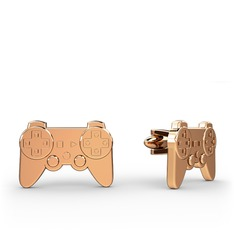 Play Station Kol Düğmesi - 925 ayar rose altın kaplama gümüş kol düğmesi #5oq8od