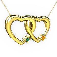 İkili Kalp Kolye - Yeşil kuvars ve sitrin 14 ayar altın kolye (40 cm altın rolo zincir) #1962oeh