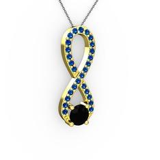 Tektaş Sonsuzluk Kolye - Siyah zirkon ve lab safir 14 ayar altın kolye (40 cm gümüş rolo zincir) #17rdyzb