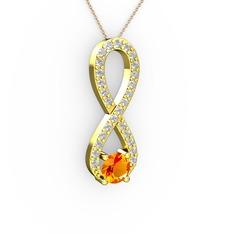 Tektaş Sonsuzluk Kolye - Sitrin ve pırlanta 14 ayar altın kolye (0.2376 karat, 40 cm gümüş rolo zincir) #fxlcay