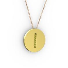 I Baş Harf Kolye - Peridot 14 ayar altın kolye (40 cm rose altın rolo zincir) #1wypdew