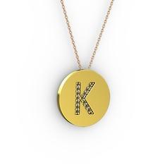 K Baş Harf Kolye - Dumanlı kuvars 18 ayar altın kolye (40 cm rose altın rolo zincir) #1vymvi4