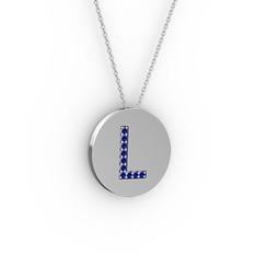 L Baş Harf Kolye - Lab safir 14 ayar beyaz altın kolye (40 cm gümüş rolo zincir) #66ldme