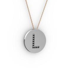 L Baş Harf Kolye - Siyah zirkon 925 ayar gümüş kolye (40 cm rose altın rolo zincir) #epj8l2