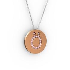 Ö Baş Harf Kolye - Pembe kuvars 18 ayar rose altın kolye (40 cm beyaz altın rolo zincir) #15argd5
