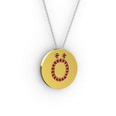Ö Baş Harf Kolye - Garnet 14 ayar altın kolye (40 cm gümüş rolo zincir) #1glnou7
