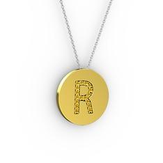 R Baş Harf Kolye - Sitrin 8 ayar altın kolye (40 cm beyaz altın rolo zincir) #13co57u