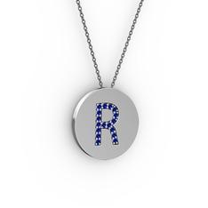 R Baş Harf Kolye - Lab safir 18 ayar beyaz altın kolye (40 cm gümüş rolo zincir) #13pnan1