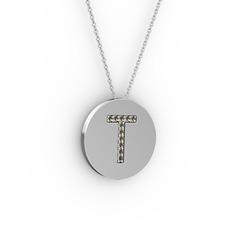 T Baş Harf Kolye - Dumanlı kuvars 18 ayar beyaz altın kolye (40 cm beyaz altın rolo zincir) #wuxcoj
