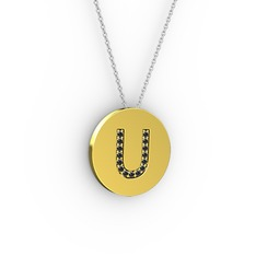U Baş Harf Kolye - Siyah zirkon 925 ayar altın kaplama gümüş kolye (40 cm gümüş rolo zincir) #1tni751