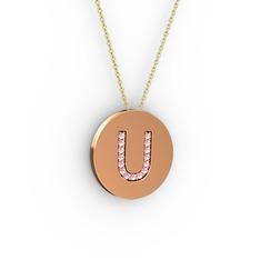 U Baş Harf Kolye - Pembe kuvars 8 ayar rose altın kolye (40 cm altın rolo zincir) #v97k9b