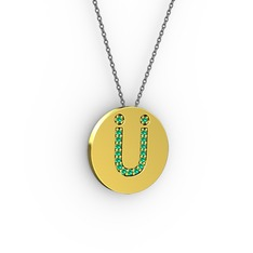 Ü Baş Harf Kolye - Yeşil kuvars 14 ayar altın kolye (40 cm gümüş rolo zincir) #xx9hr0