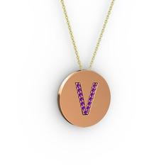V Baş Harf kolye - Ametist 925 ayar rose altın kaplama gümüş kolye (40 cm altın rolo zincir) #1bzisdc
