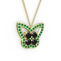 Kelebek Kolye - Kök zümrüt ve siyah zirkon 14 ayar altın kolye (40 cm altın rolo zincir) #1x1nnzg