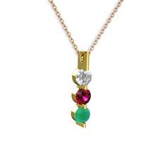 Trinity Taşlı Kolye - Swarovski, rodolit garnet ve kök zümrüt 14 ayar altın kolye (40 cm gümüş rolo zincir) #fqjp60