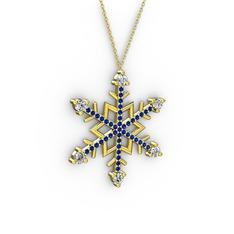 Aloin Kar Tanesi Kolye - Beyaz zirkon ve lab safir 14 ayar altın kolye (40 cm altın rolo zincir) #25s8wf