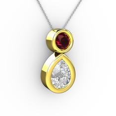 İkili Damla Kolye - Swarovski ve rodolit garnet 14 ayar altın kolye (40 cm gümüş rolo zincir) #ugckw9