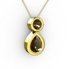 İkili Damla Kolye - Dumanlı kuvars 14 ayar altın kolye (40 cm gümüş rolo zincir) #vxbtrx