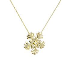 Lumi Kar Tanesi Kolye - Pırlanta ve beyaz zirkon 14 ayar altın kolye (0.11 karat, 40 cm altın rolo zincir) #17gzklb