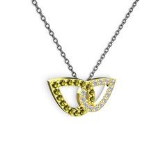 Taşlı Leaf Kolye - Beyaz zirkon ve peridot 14 ayar altın kolye (40 cm gümüş rolo zincir) #1h9bkf9