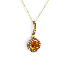 Sivana Kolye - Sitrin ve kök yakut 14 ayar altın kolye (40 cm altın rolo zincir) #13pxkp8