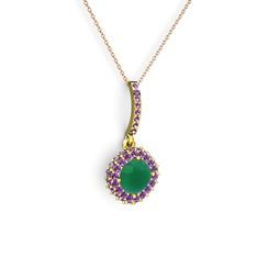 Sivana Kolye - Kök zümrüt ve ametist 14 ayar altın kolye (40 cm rose altın rolo zincir) #1qmnl27