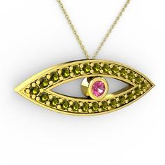 Ayn Kolye - Pembe kuvars ve peridot 14 ayar altın kolye (40 cm altın rolo zincir) #e5ly69