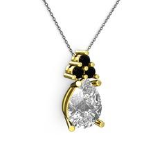 Madiva Kolye - Swarovski ve siyah zirkon 14 ayar altın kolye (40 cm gümüş rolo zincir) #1yyhzdi