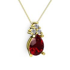 Madiva Kolye - Garnet ve pırlanta 14 ayar altın kolye (0.72 karat, 40 cm altın rolo zincir) #8vimx7