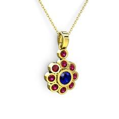 Elmas Çiçek Kolye - Rodolit garnet ve lab safir 14 ayar altın kolye (40 cm altın rolo zincir) #fiznb7