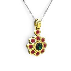 Elmas Çiçek Kolye - Kök yakut ve yeşil kuvars 14 ayar altın kolye (40 cm beyaz altın rolo zincir) #rmljdb