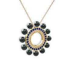 Velinda İnci Kolye - Siyah inci, pembe kuvars ve lab safir 14 ayar altın kolye (40 cm rose altın rolo zincir) #1tyv5o