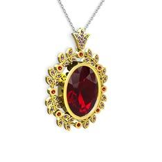 Belka Demet Kolye - Garnet ve ametist 14 ayar altın kolye (40 cm gümüş rolo zincir) #1yomts3