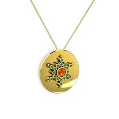 Neu Kar Tanesi Kolye - Sitrin ve kök zümrüt 14 ayar altın kolye (40 cm altın rolo zincir) #17goouo