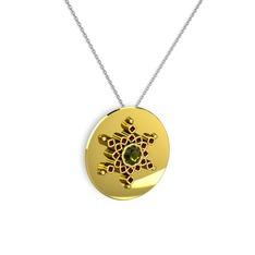 Neu Kar Tanesi Kolye - Peridot ve garnet 14 ayar altın kolye (40 cm beyaz altın rolo zincir) #1ia4ttg
