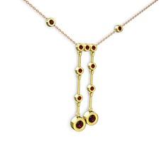 Taşlı Belly Kolye - Rodolit garnet ve garnet 14 ayar altın kolye (40 cm rose altın rolo zincir) #13kygh1