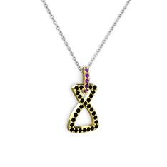 Simla Kolye - Ametist ve siyah zirkon 14 ayar altın kolye (40 cm gümüş rolo zincir) #1pxzecn